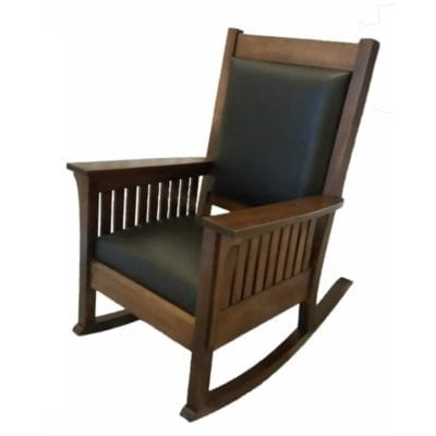 Affinity Mission Rocking Chair with black leather seat