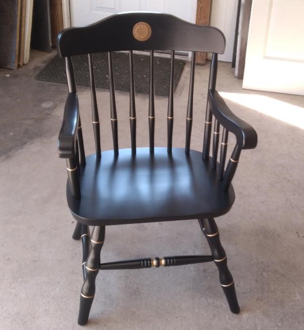 Black Captain's Chair with Medallion installed in Crown