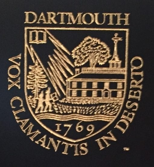 gold Dartmouth Vox Clamantis Shield on black college chair