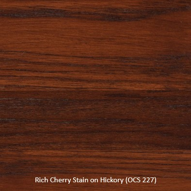 Stain Sample - Rich Cherry Stain (OCS 227) on Hickory Wood